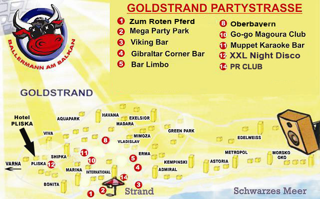 Goldstrand Party Karte
